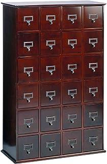 Leslie Dame CD 456C Solid Oak Library Card File Media Cabinet, 24 Drawers,