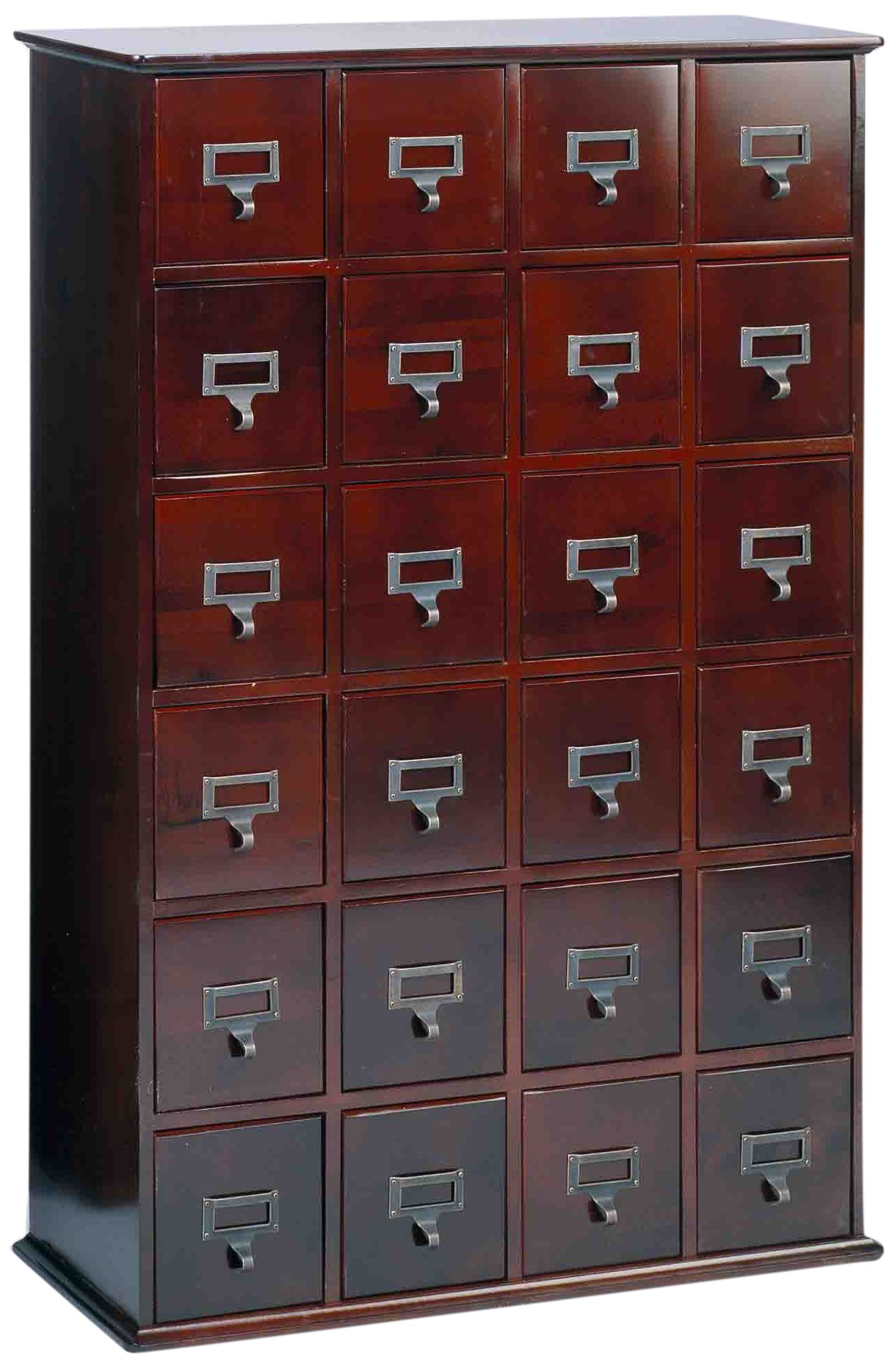 Leslie Dame CD-456C Solid Oak Library Card File Media Cabinet, 24 Drawers, Cherry by Leslie Dame