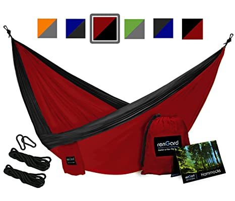 rengard portable camping hammock  u2013 sturdy and breathable parachute nylon built  multifunctional  tri  amazon    rengard portable camping hammock   sturdy and      rh   amazon