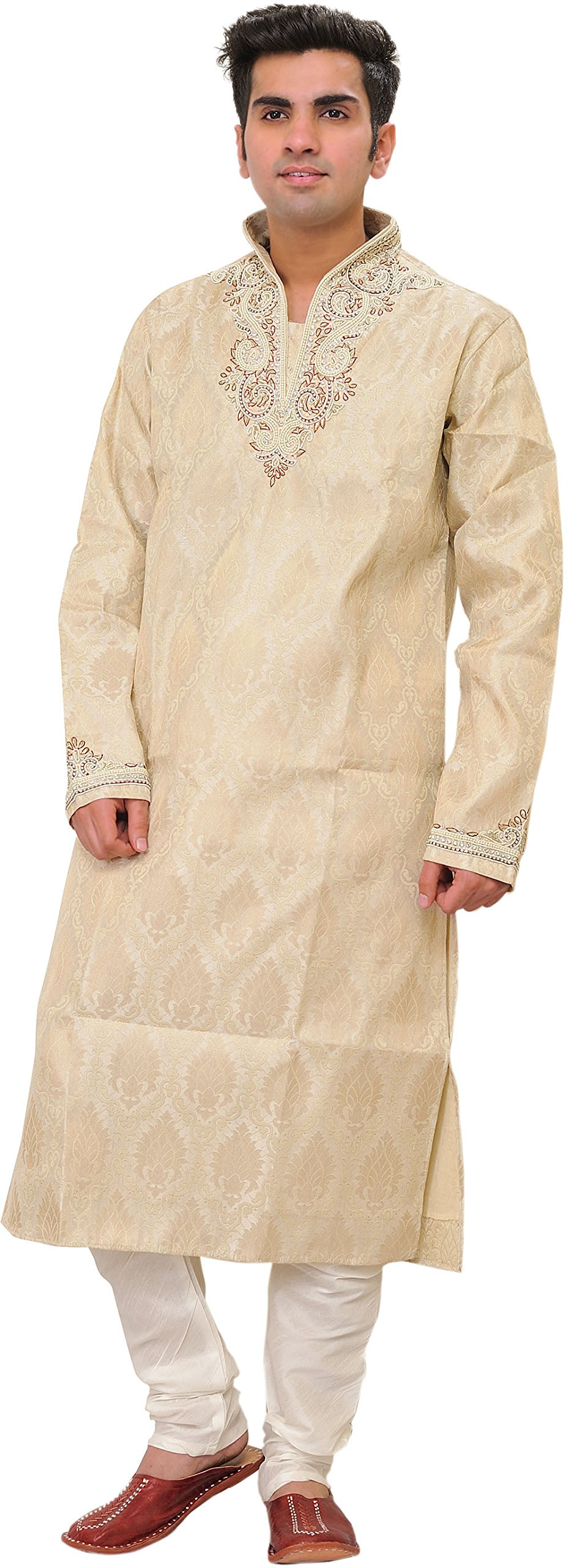 Exotic India Sandshell Wedding Kurta Pajama - Off-White Size 40