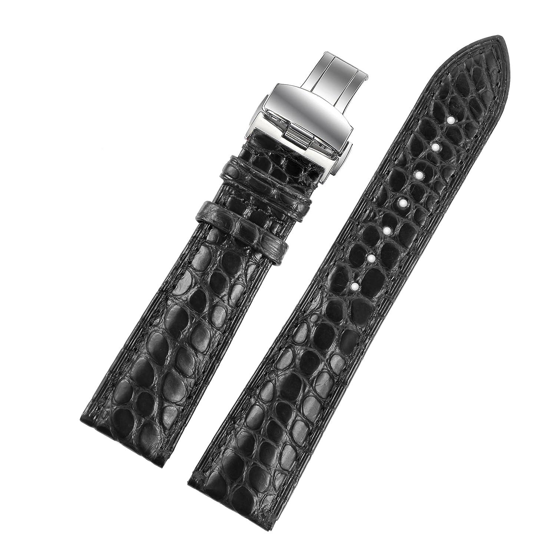 19 mmブラックハンドメイドLuxury交換用レザー時計ストラップ/バンドGenuine Crocodile Skin for LuxuryスイスWatches  B01IPHCMGO