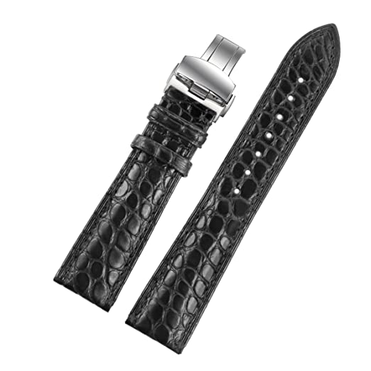 b254f5c5d 21mm Black High-end Alligator Leather Watch Straps/Bands Replacement for  Luxury Watches