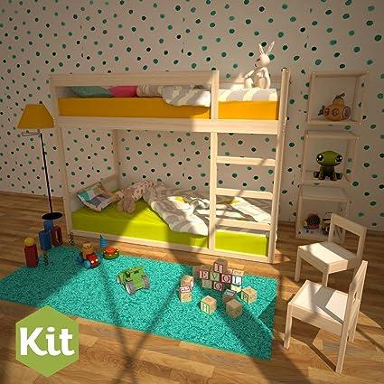 Kit Mobiliario Litera Montessori De Madera Nordico Literas Para