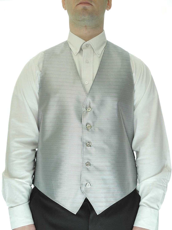 Chevron Pattern Silver Dress Vest for Men Vest