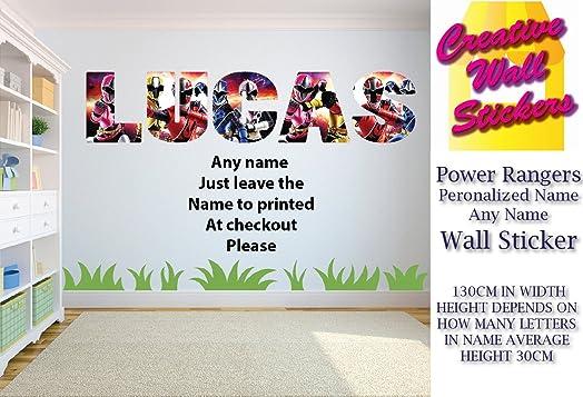Power Rangers wall art sticker ANY NAME Childrens Bedroom Wall Decal. Power Rangers wall art sticker ANY NAME Childrens Bedroom Wall