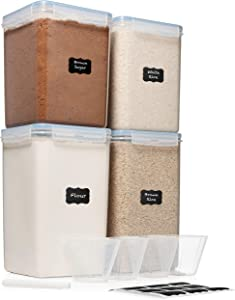 Extra Extra Large 6.5L x 2 & EXTRA LARGE 5.2L x 2 - WIDE & DEEP Food Storage Airtight Containers [Set of 4] + Free 4 Measuring Cups + Labels - Ideal for Sugar, Flour Leakproof BPA Free Clear Plastic