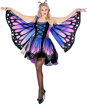 WIDMANN 07592 - Disfraz de mariposa para mujer, color azul/rosa ...
