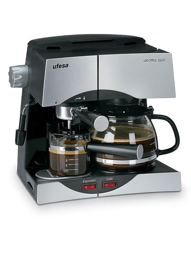 Ufesa CK7345 - Máquina de café (1500 W, 220, 240 MB/s, 50 Hz, 315 x 264 x 316 mm, 3590 g), color plata y negro: Amazon.es: Hogar