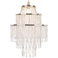 WanEway Large 3 Tiers Chrome Sparkling Beads Pendant Shade, Ceiling Chandelier Lampshade with Acrylic Jewel Droplets, Beaded Lampshade with Chrome Frame and Sparkling Beads