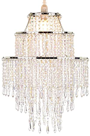 Waneway large 3 tiers beads pendant shade ceiling chandelier waneway large 3 tiers beads pendant shade ceiling chandelier lampshade with acrylic jewel droplets mozeypictures