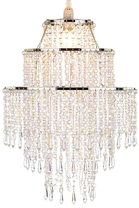 WanEway Large 3 Tiers Beads Pendant Shade, Ceiling Chandelier ...