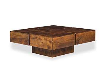Woodkings Couchtisch Amberley 80x80cm Holz Akazie Braun Echtholz Modern Design Massivholz Lounge Coffee Table Gunstig