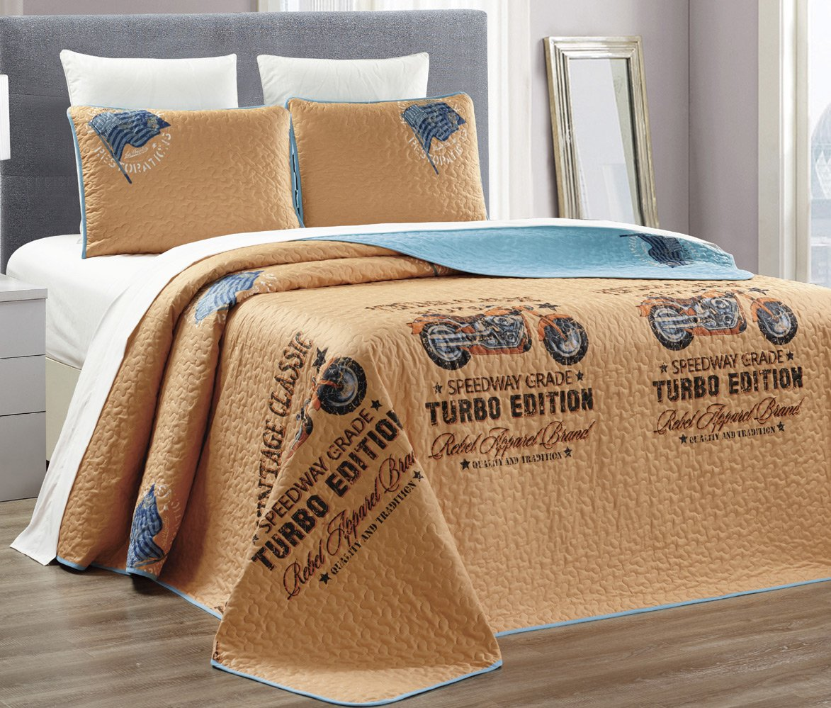3-Piece Fine printed 100% COTTON Boy's Quilt Set Reversible Bedspread Coverlet FULL / QUEEN SIZE Bed Cover (Brown, Blue, Motorcycle Rebel)