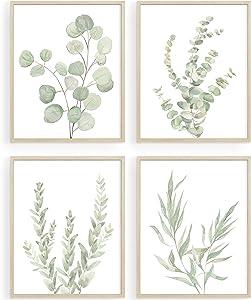 Botanical Plant Bathroom Decor, Green Wall Art Prints for Home|Farmhouse |Kitchen|Office|Living Room, Eucalyptus Leaves Watercolor Wall Posters, Boho Minimalist Wall Art, Set of 4, 8