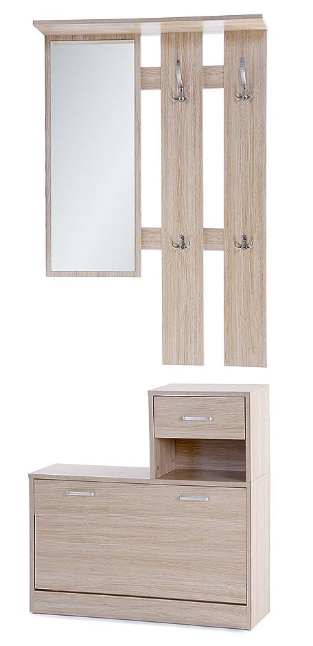 Ts Ideen 3er Set Wand Garderobe Spiegel Schuhkipper Schuhschrank Mit  Schublade Und Ablage In