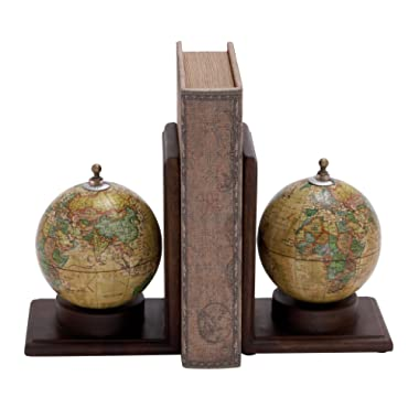 Deco 79 38119 Pair of Traditional Wood and Iron Sepia Globe Bookends
