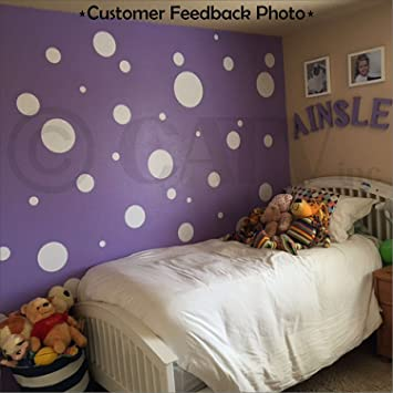 Assorted Vinyl Polka Dots Circle Wall Decals Vinyl Stickers Nursery Decor  (White/set Of