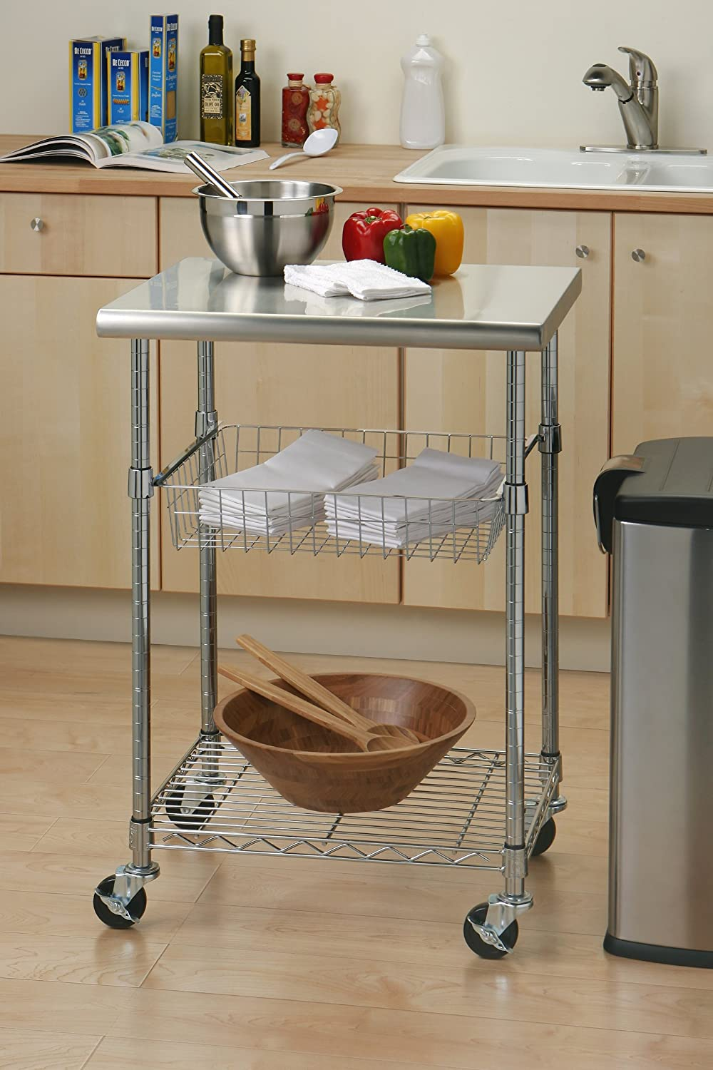 Amazon.com: Seville Classics Stainless Steel Professional Kitchen Cart  Cutting Table: Home & Kitchen
