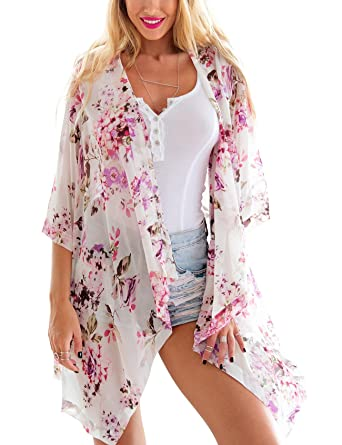 Grapent Women's 3/4 Sleeves Floral Kimono Cardigan Blouses ...