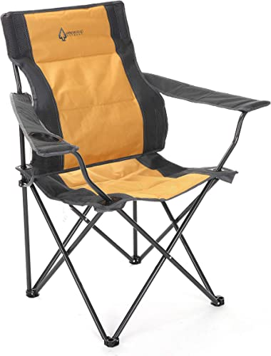 ARROWHEAD OUTDOOR Portable Folding Camping Quad Chair w Lumbar Back Support