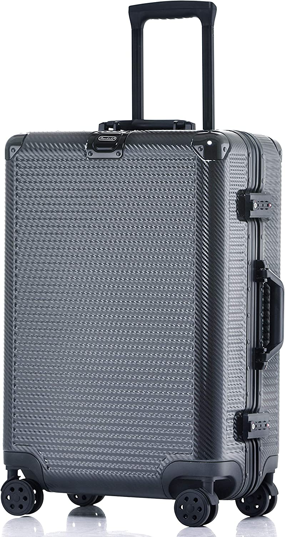 Durable PC Hardshell TSA Lock Luggage Suitcase with Spinner Wheels 20 Inch Black Aluminum Frame Carry On
