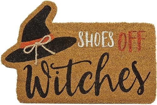 Mud Pie Halloween Fall Home Garden 18 x 28 Woven Coir with Rubber Back Floor Door Mat – Witch
