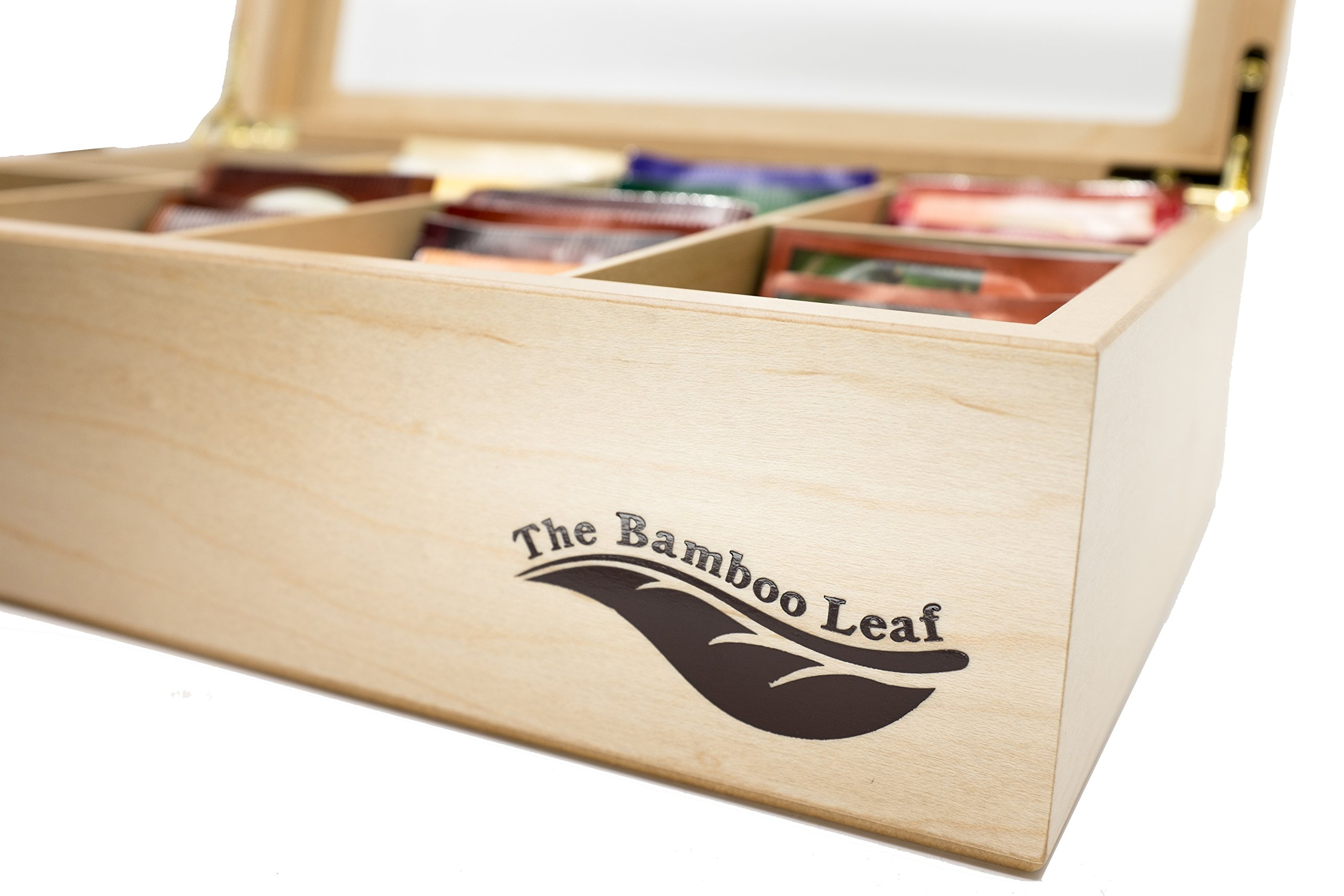 The Bamboo Leaf Luxury Wooden Tea BoxStorage Chest, 8 Compartments w/Glass Window (Natural) by The Bamboo Leaf (Image #2)