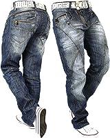 Cipo & Baxx Herren Jeans Freizeit Hose Clubwear Biker Denim Disco Dicke Naht