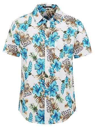 fea8ffdd Hopioneer Men's Aloha Shirts - Short Sleeve Casual Button Down Brushed Hawaiian  Shirt with Floral Print