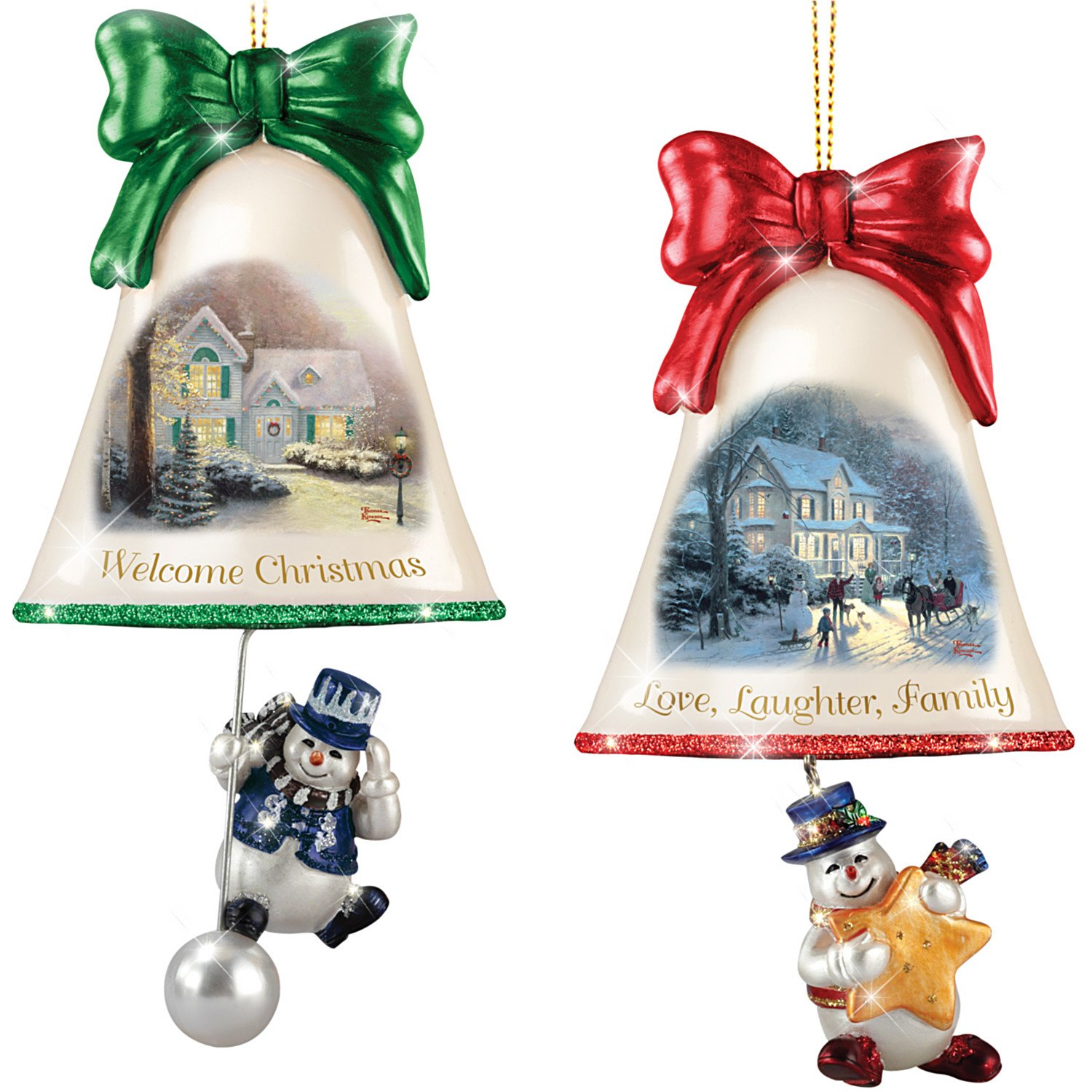 The Bradford Exchange Christmas Ornaments: Thomas Kinkade Ringing in The Holidays Ornament Set: Set 5