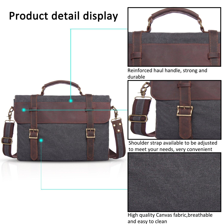 FANDARE Vintage Messenger Bag Sac Bandoulière Ordinateur Portable 14.6 Pouces Laptop Briefcase Sacs Portés Travail Ecole Cartable Crossbody Bag Toile Gris 9LfwN