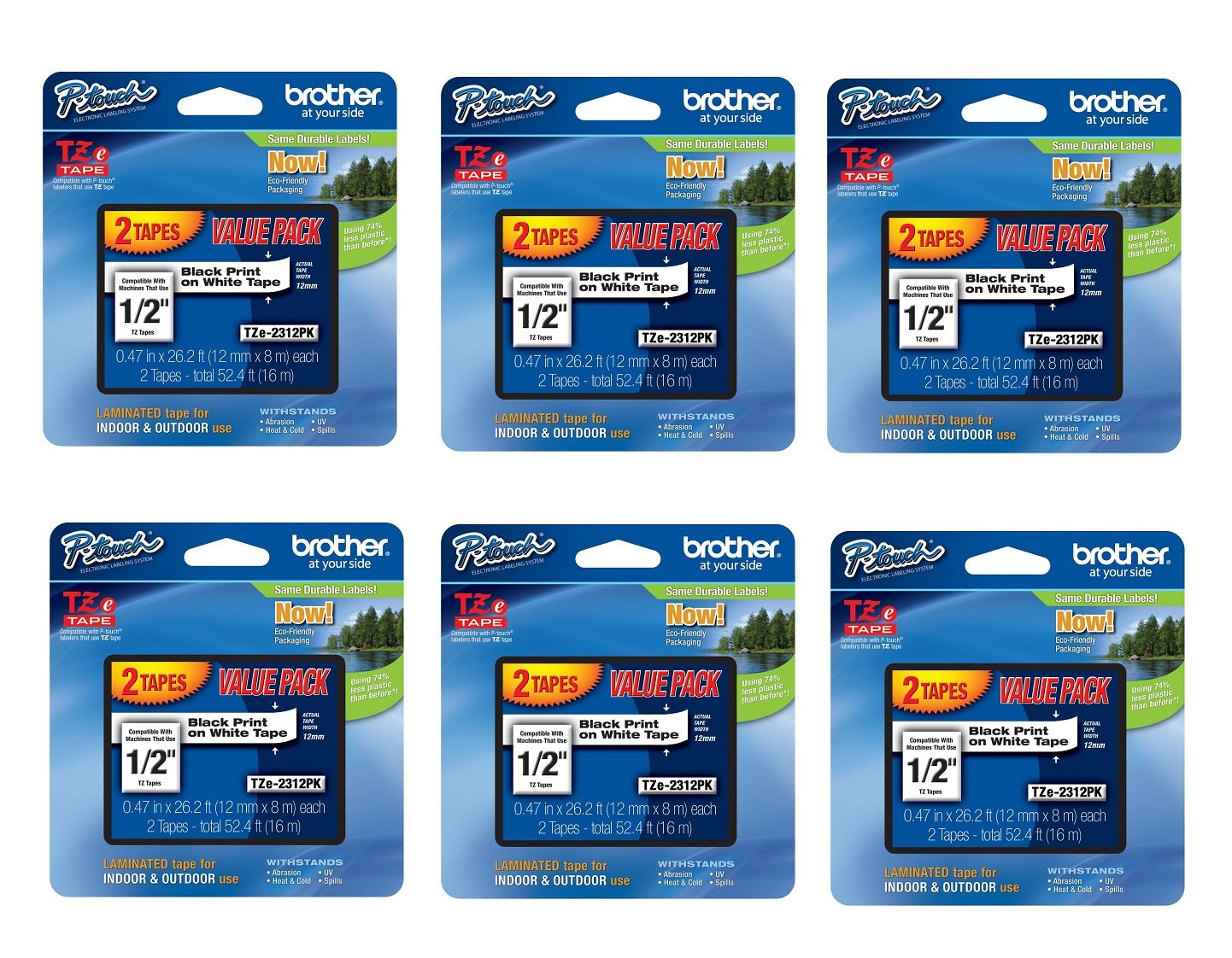 Brother 6-Pack Laminated Tape, Black on White (TZe231 - 2 tapes per pack)