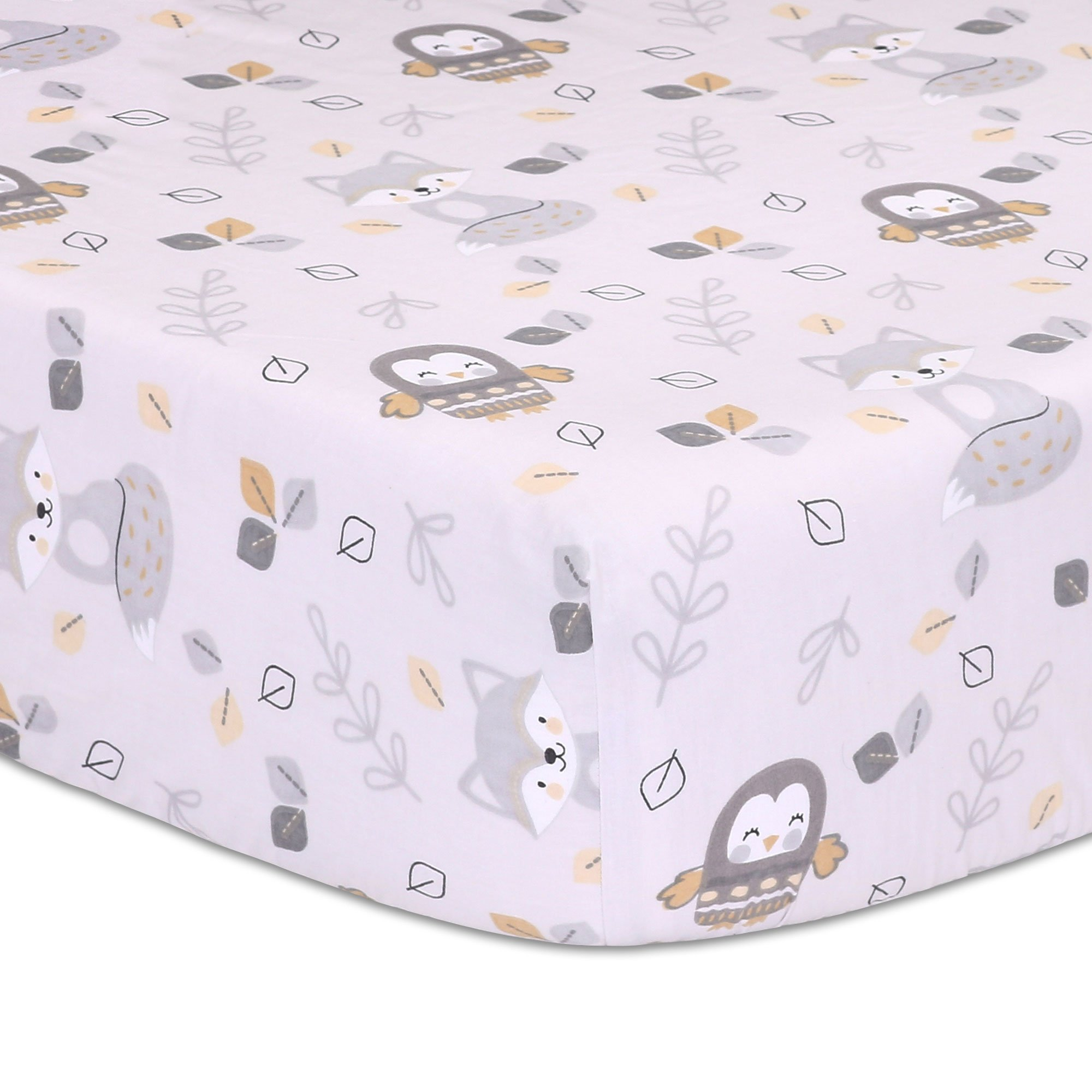 Woodland Friends Owls and Foxes Baby Fitted Crib Sheet - Grey and Tan Cotton