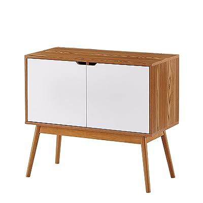 Amazon Com White Woodgrain Mid Century Style Console Sofa