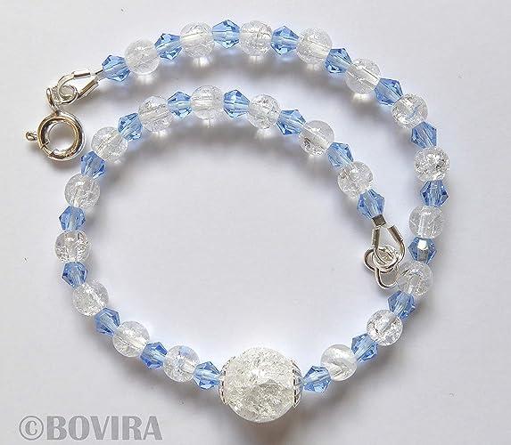 5bd9f8b792a6 Rock Crystal Quartz Swarovski Crystal Sterling Silver Bracelet-925 Silver-Beaded  Bracelet-Clear Natural Quartz-Blue Swarovski Crystals-For Wrist ...