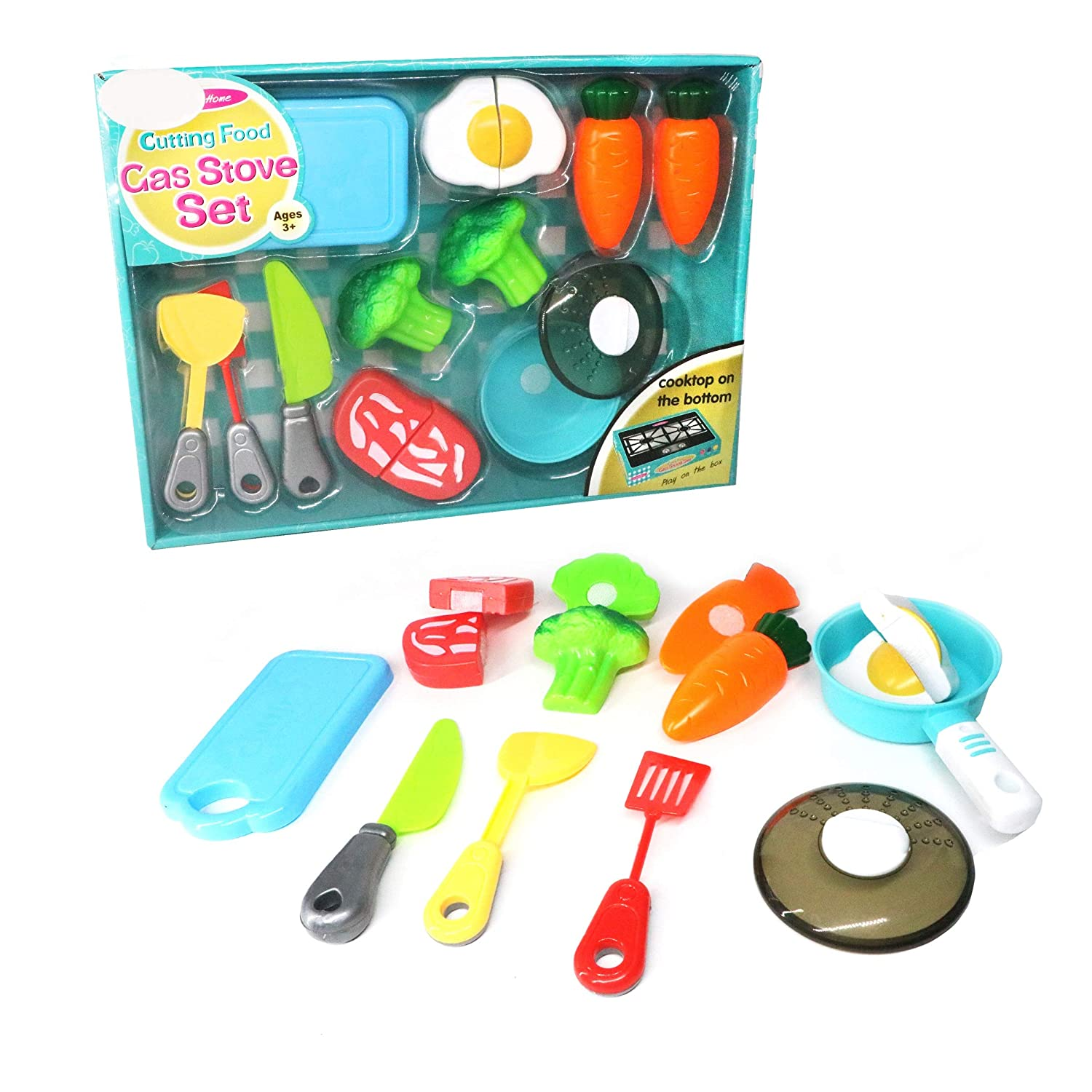 LOZUSA World Chef Gas Stove Set Pretend Cutting Food for Toddlers Play Pots and Pans Kitchen Accessories Toy Food Educational Playset with Toy Knife,Cutting Board,Veggies, Egg, Meat, and Pot