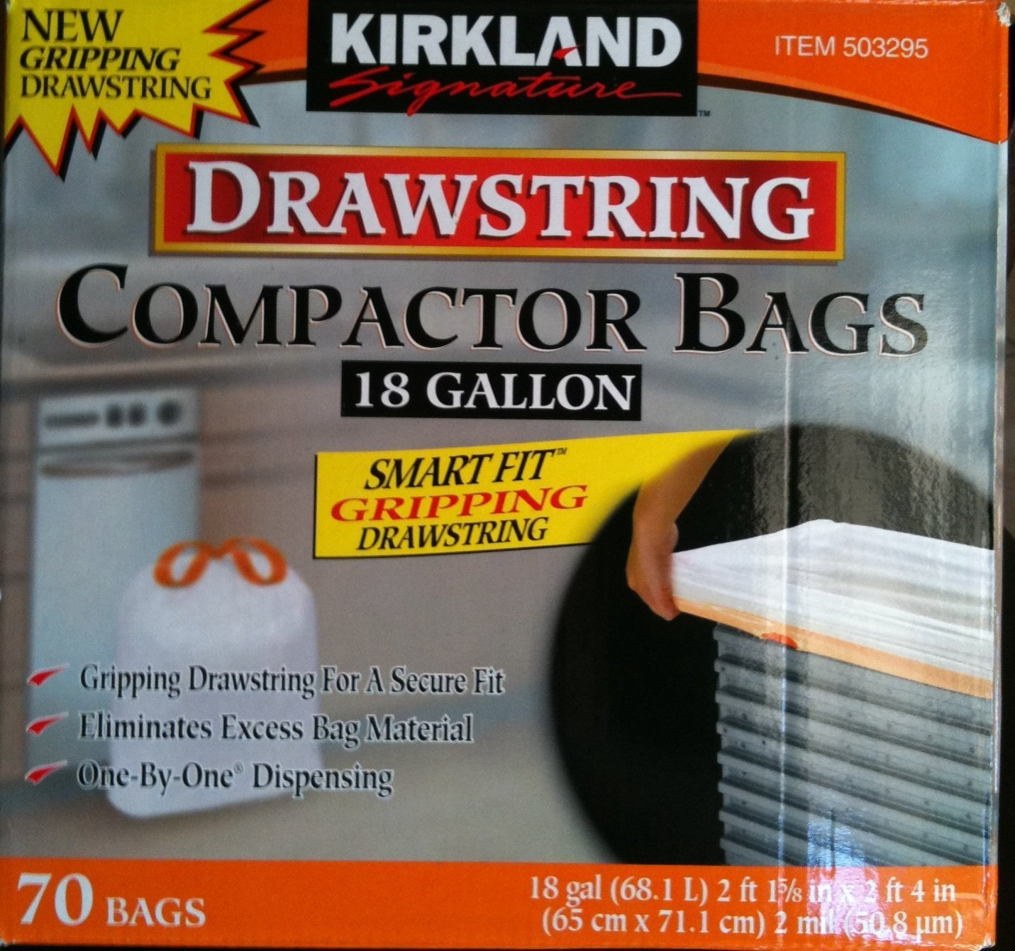 Kirkland Compactor Bags, 18 Gallon, Smart Fit Gripping Drawstring, 140 Count Size