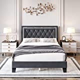 Full Bed Frame, Diamond Tufted Upholstered Platform Bed Frame with Adjustable Headboard, Mattress Foundation with Wooden Slat