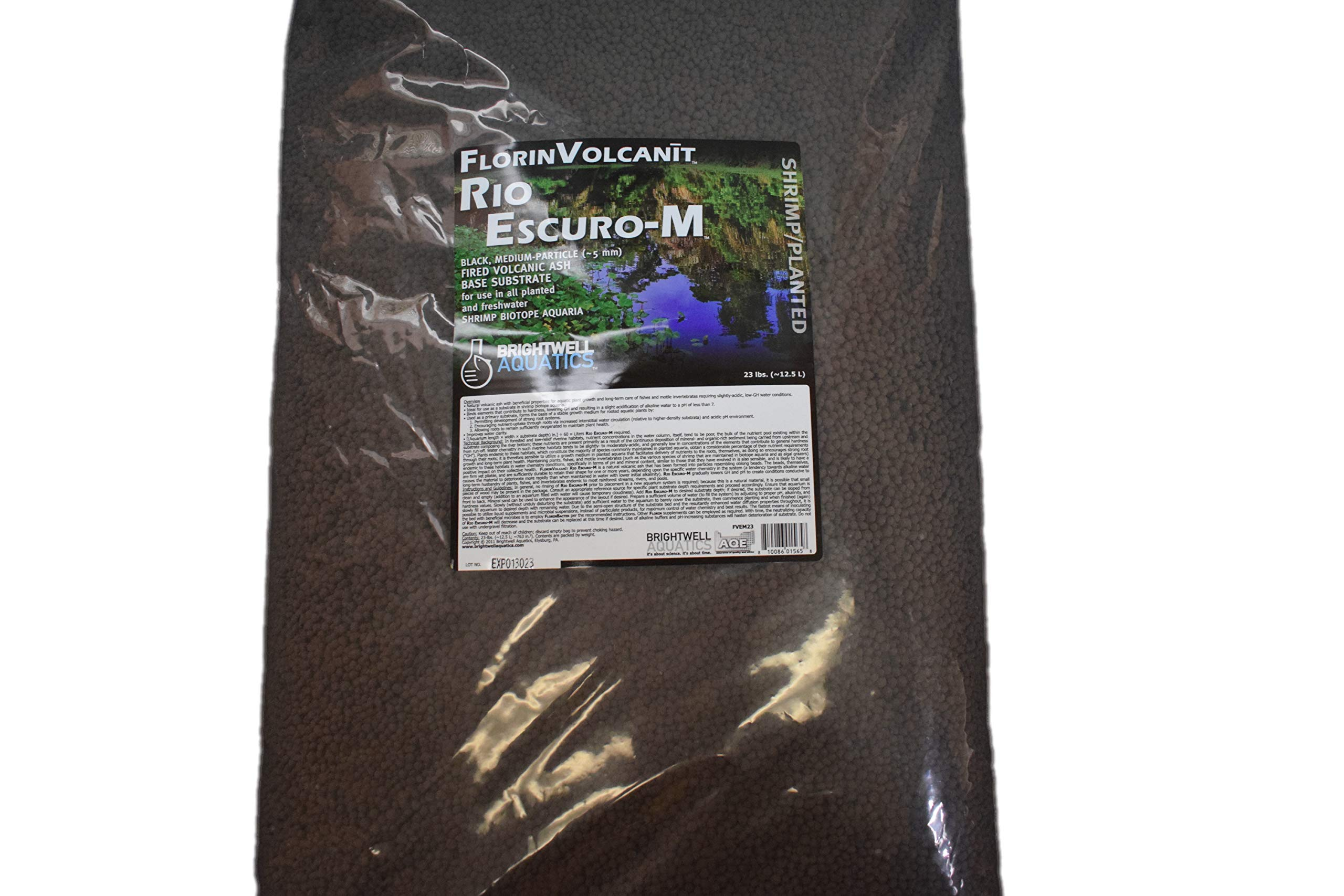 Brightwell Aquatics FlorinVolcanit Rio Escuro-M, Black, Medium Particle (5mm) Fired Volcanic Ash Base Substrate, 23Lbs