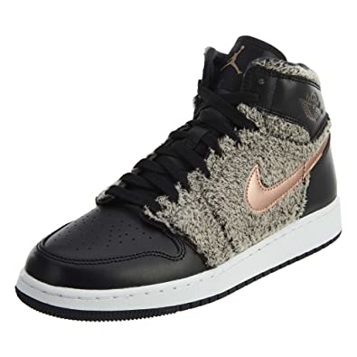 8e55dfe6f6a6 Jordan Air 1 Retro High GG Big Kids Shoes Black Metallic Bronze White 332148