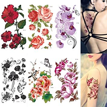 2fc5e325bb060 Amazon.com : Supperb Mix Flower Temporary Tattoos Ii/6-pack Floral Tattoo :  Beauty