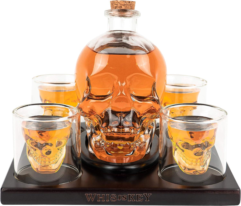 Whisiskey/® Calavera decantadora 800 ml, incluye 9 piedras de whisky, pinzas, boquilla de regalo y 4 vasos