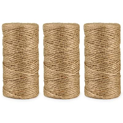 Natural Jute Twine String Rolls - 328 Feet 3 ply, Durable Brown Twine Rope for Crafts, Gift Wrapping, Packing, Gardening, Artworks, Picture Display, Recycling, and Wedding Decor (3 Pack) : Office Products