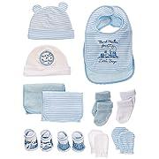 Newborn BabyEssentials Gift Set for Boys and Girls; Hats, Bibs, Burp Cloths, Booties, Scratch Mittens, Head Wrap & Socks