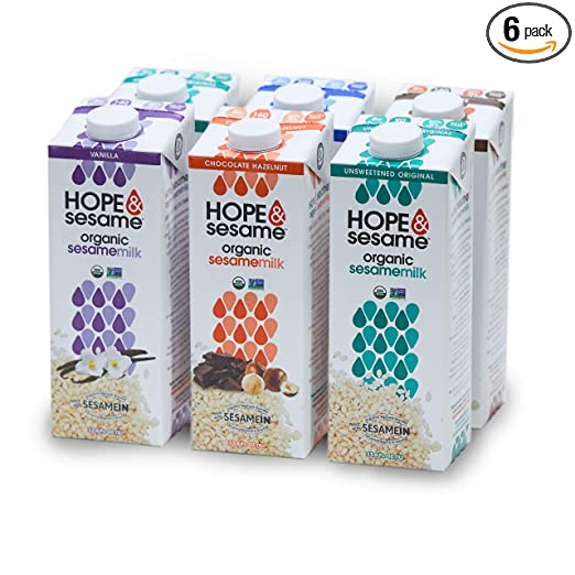 Hope & Sesame Organic Sesame Milk (Variety, 6-pack): USDA Organic Non Dairy Milk | Non-GMO, Lactose-Free, Nut-Free, Soy-Free, Gluten-Free | Recyclable BPA-free 1L Boxes