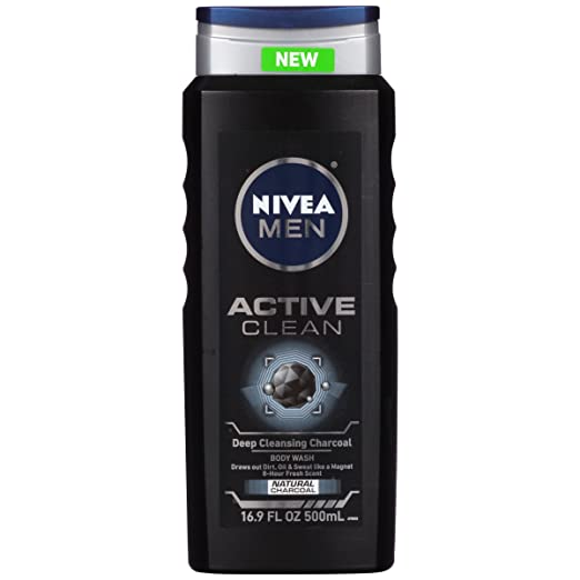 Nivea for Men Active Clean Body Wash, Natural Charcoal, 16.9 Fluid Ounce