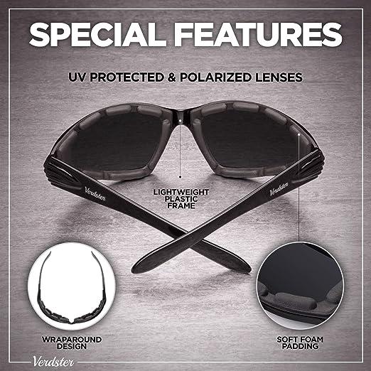 Design Confortevole Avvolgente con Cuscinetti di Schiuma Occhiali da Sole Polarizzati da Uomo da Moto Protezione UV Verdster Airdam Ideali per Andare in Moto /& per Sport all/'Aria Aperta