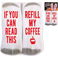 Mens Socks Refill My Coffee Best Gift For Coffee Lovers, One- fits-all Size, Non-slip crew cut, Strengthened heel
