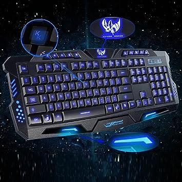 LED USB Gaming Ergonomic Keyboard with 3 Color Backlit//Backlight PC Keyboard