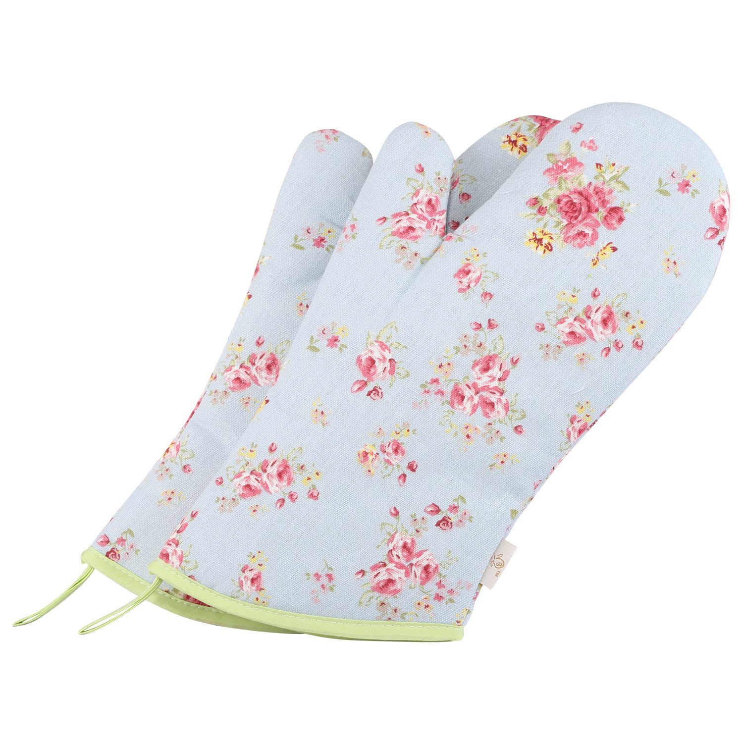 Neoviva Cotton Canvas Oven Mitt for Adult, Pack of 2, Floral Ballad Blue